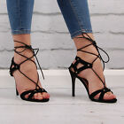 Womens Lace Up Cut Out Heeleds Sandals High Heel Stiletto Open Ladies Shoe Size