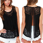 Women Lady Lace Open Back Tank Tops Sleeveless Summer T Shirt Blouse Vest M04
