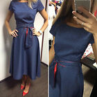 Womens Short Sleeve Bodycon Cocktail Dress Ladies Evening Party Dress Size 6-14