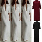 Sexy Delicate Women V Neck Cotton Linen Long Tops Kaftan Party Split Maxi Dress