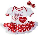 Baby Happy1st Father's Day Heart Red Polka Dots Bodysuit Tutu Romper Party Dress