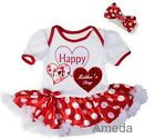 Baby Happy 1st Mother's Day White Red Polka Dots Birthday Bodysuit Tutu Romper