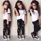 2pcs Toddler Kids Baby Girls T-shirt Short Sleeve Tops+Pants Clothes Outfits Set