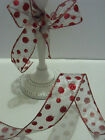 GLITTERY RED Dots on silver Lurex metallic Christmas - Luxury Wire Edged Ribbon