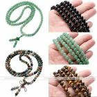 8mm Natural Black Agate Gemstone Round Loose Beads Bracelet Long Chain Necklace