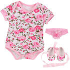 Newborn Baby Girls Romper + Shoes + Headband  Rose Leopard Infant Jumpsuit 0-12M