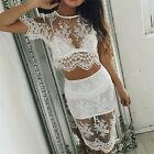 Womens Sexy Floral Lace Crop Top Skirt Set 2 Pieces Bodycon Midi Party Dress TY