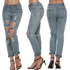 Sexy Women Destroyed Ripped Distressed Slim Denim Pants Boyfriend Jeans N98B