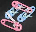 Baby Shower 4 Large plastic safety pins blue or Pink with ribbon FREE POSTAGE