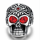Silver Skull Biker red ruby 316L Stainless Steel Gothic Devil Punk Rings 8-12