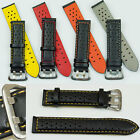 Sports watch strap genuine leather mens black band coloured stitching rally NEW