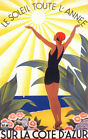 FRENCH RIVIERA SUNSHINE GIRL COTE D'AZUR SUN ALL YEAR VINTAGE POSTER REPRO