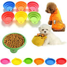 Pet Dog Cat Portable Silicone Collapsible Feeding Bowl Water Dish Feeder HF