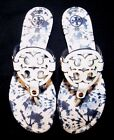 New TORY BURCH Miller T Logo Leather Thong Sandals 7 Ivory & Blue Tie Dye NIB