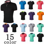 Mens Stylish Casual Short Sleeves T-Shirts Polo Collar Button Shirts Tops Hot
