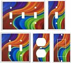COLORFUL WAVY RIBBON MY ORIGINAL ABSTRACT ART LIGHT SWITCH COVER PLATE  K1