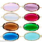 2PCs Gold Plated Connectors Jewelry Findings Oval Shape Resin Rhinestone