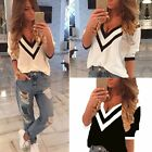 Sexy Women Ladies Casual Loose V Neck Long Sleeve Top Blouse Tee Shirt S-XXL TY