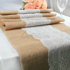 New! Country Wedding Theme- Lace Burlap Table Runner Rustic Wedding Event Supply