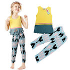 2pcs Cotton Clothes Set Summer Casual Sleeveless Tassel T-shirt Tops  Long Pants