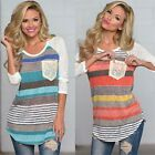 New Fashion Women  Loose Crew Neck Striped Tops Long Sleeve Shirt Casual Blouse