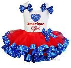 4th of July Red Blue Star Satin Trimmed Tutu & American Girl White Tank Top