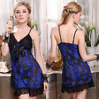 Pink Blue Red Dot Lingerie Babydoll Chemise Dress Ladies Lace Nighty XS S M 4-10