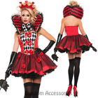 K146 Queen Of Hearts Alice in Wonderland Jester Harlequin Fancy Dress Up Costume
