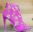 Cape Robbin Lena 8 Fuchsia Pink Cut Out Open Toe Booty Shoe Pump  6 - 11