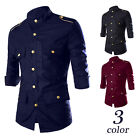 Fashion New Mens Luxury Stylish Casual Dress Slim Fit T-Shirts Casual 3/4 Sleeve