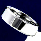 Silver Polished Tungsten Carbide Men's Wedding Band Engagement Bridal Ring