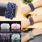 "7"" Natural Amethyst Crystal Quartz Chip Stone Beads Cuff Bangle Bracelet Jewelry"
