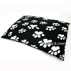 Soft Fleece Paw Black Large Dog Pet Bed Zipped Cover + Optional Pillow