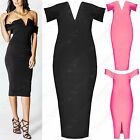 LADIES BARDOT OFF SHOULDER SLIT NECK MIDI DRESS WOMENS BODYCON TOP PENCIL SKIRT