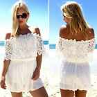 Womens Sexy Lace Playsuit Summer Beach Ladies Shorts Dress Jumpsuit Size 8-20