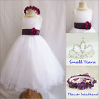 Gorgeous white/plum purple satin tulle wedding flower girl party dress all sizes