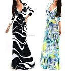 New Fashion Women Sexy V Neck High Waist Maxi Slim Dress Beach Chiffon Dresses B