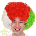 FOOTBALL SUPPORTERS WHITE RED AND GREEN AFRO WIG NOVELTY HAIR FOR SPORTS EVENT