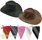 FAUX SUEDE COWBOY HATS AND PAISLEY BANDANA WESTERN COSTUME ACCESSORY PICK COLOUR