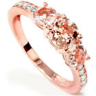 1ct Morganite & Diamond 3-Stone Ring 10k Rose Gold