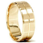 14K Yellow Gold Mens 8mm Swiss Cut Wedding Ring