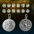 Classic Solid 925 Sterling Silver Chinese Zodiac Pattern Pendant Necklace C273
