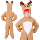 CHILDS REINDEER CHRISTMAS COSTUME FANCY DRESS RED NOSE RUDOLF XMAS GIRLS BOYS