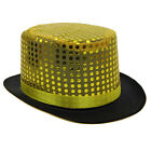 GOLD SEQUIN TOP HAT CABARET CIRCUS RINGMASTER FANCY DRESS COSTUME ACCESSORY