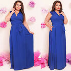 Sexy Lady V-neck Sleeveless Plus Size Maxi Long Dress for Cocktail Evening Party
