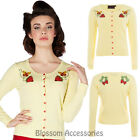 RKV44 Voodoo Vixen Cresida Cardigan Yellow Strawberry Pin Up 50s Rockabilly