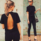 NEW Women Black Sexy Loose Backless Short Sleeve Casual Blouse Tops T Shirt AS