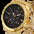 UK New Luxury Men's Date Gold Stainless Steel Military Army Sport Wrist Watch