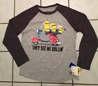 NWT Boys Minions They See Me Rollin' Gray Raglan Tee ~ Various Sizes ~