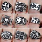 Men's Stainless Steel Silver Fashion Gothic Punk Charm Cross Finger Ring Jewelry
